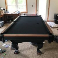 Black and Cherry-Oak Framed Pool Table For Sale
